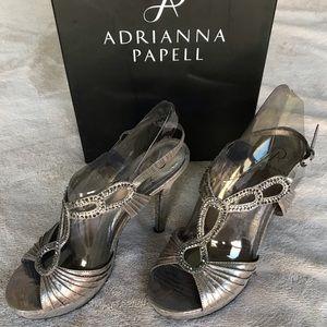 Metallic Jeweled Strappy Heels